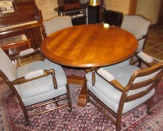 355 Table 4 chairs, Was $160; Now $125.   45 in diameter parquet top