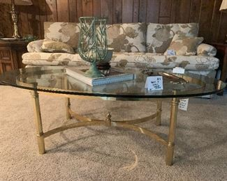 """#3 - $60 - Brass and Glass Coffee Table - 50""""W x 27""""D x 17""""H"""