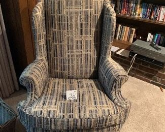 """#7 - $100 - Tradition House Wingback Chair - 32""""W x 32""""D x 20""""H (@ seat) x 45""""H (@ back)"""