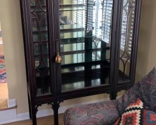 """Antique Glass Front China Cabinet 44 3/8"""" wide x 63 5/8"""" high x 16"""" deep  $200"""