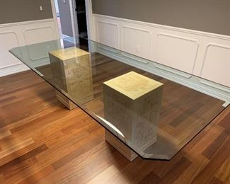 """Drexel Heritage 1/2"""" beveled glass top dining table with burled tiger maple base (104""""W x 46""""D) - $1,800 or best offer"""