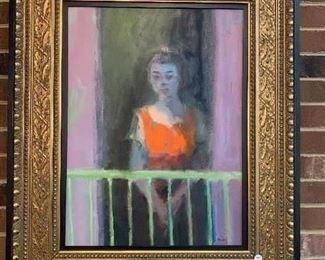 "Charles Sibley "" Balcony Figure 4500. 33x27"