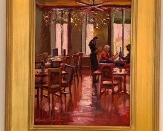 """""""May I take your order"""" Oil on Linen Paper Michelle Byrne  22 1/2 x 18 1/2 1200.00"""