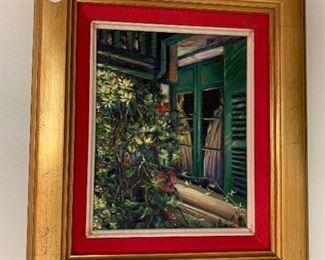 """Garden Scenec Oil on canvas  Artist. Galaxy  395.00"