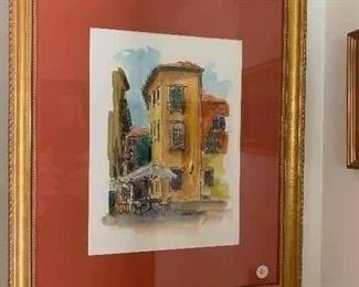 """""""Cafe Scene """" Watercolor  Marion Rose 19x15 1/2 420.00"""