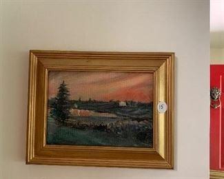"""""""Inlet Sunset"""" Sara Moore  7 1/2 x 9 1/2 150.00"""