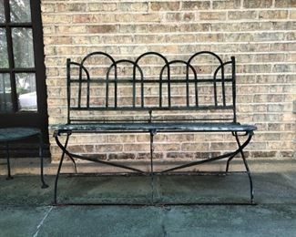 Antique iron and wood bench. (missing piece of one wood slat)