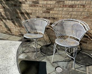 pair wrought iron chairs (need paint) 45.00 each