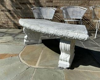one of a pair of curved concrete benches 350.00 pr.