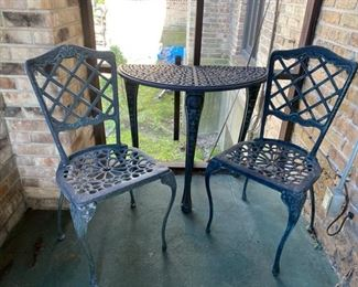 cast aluminum half round table  &  chairs