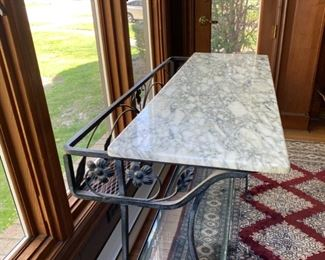 wrought iron bar stand marble top