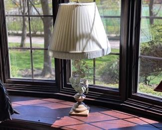 Vintage Tole floral table lamp #1 ( shade has tears) 125.00