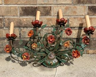 vintage tole floral wall sconce 85.00
