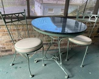 vintage wrought iron bistro set with marble top option as well as glass top