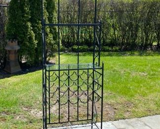 wrought iron bar stand with wine rack 125.00