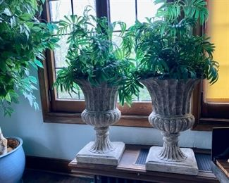 pr. resin planters with artificial ferns 75.00 pr.