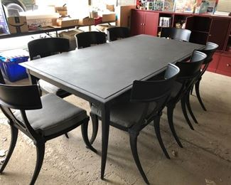 RESTORATION HARDWARE (CURRENT STYLE)                     KLISMOS RECTANGULAR DINING TABLE IN BRUSHED IRON W/8 KLISMOS SIDE CHAIRS                        ORINIGAL COST OVER $6200    SALE PRICE $2500