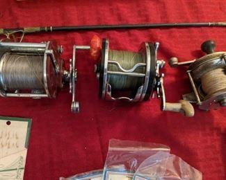 Vintage fishing reels.