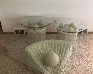 Organic Modern Tessellated Mactan Stone & Glass Coffee Table w/ Two End Tables - all appear to be in excellent condition.  (Photo 1 of 5)