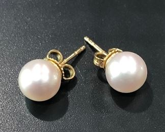 $575 Mikimoto Pearl 18K yellow gold stud earrings. Pearls are estimated at 8mm. Typical retail is $800 for this set.  (Photo 1 of 1)