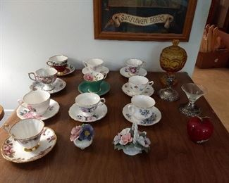 Collection of china tea cups and more