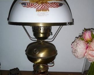"Brass hurricane lamp w/American Eagle milk glass shade, circa 1940's - 1950's, marked ""National Gallery of Art, Washington DC""  21 1/2"" high"