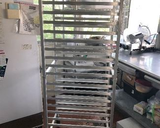 """Winco ALRK-20 NSF Pan Rack. 70""""T x 20""""W x 26""""D. 20 shelves each 3"""" apart and each 18""""x26"""". (Photo 3 of 4)"""