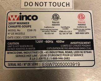 Winco Soup Warmer. Model ESW-70. In great shape.  (Photo 2 of 3)