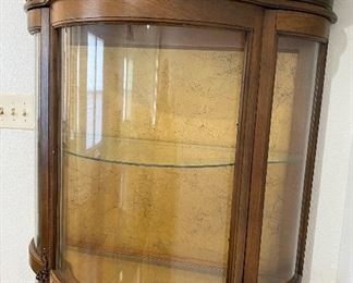 Antique Refurbished Bow Front Curio Cabinet