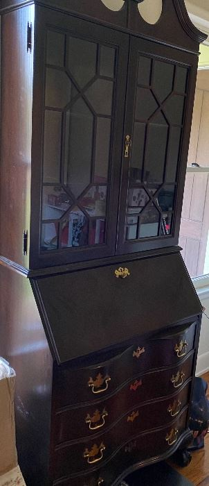 Vasper Reproduction of an Antique Mahogany Secretary Desk/Hutch