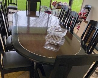 """Karl Mann Chicago Pearl Dining Table Oval with Ceraglaze finish on top *' x 4' with 2 18"""" leaves, Ebony stain in outside inlay with dark parchment inside inlay $16,000 retail, Table $2500 This item is offered for presale with payment to insure you get what you want. Please text 847-269-6272 to purchase, I will call you back with in 24 hours"""
