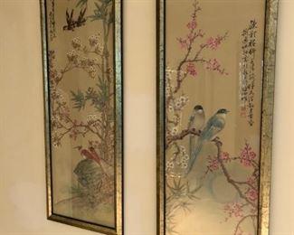 Chinese - Birds, Cherry Blossoms - $250 pair