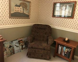 Pair of Club Chairs - Rock & Swivel (1 of 2)  $80 Pair               Mission / Shaker Side Table - (Sold)  Tin Signs - (Sold)
