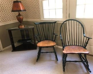 """Windsor Style Rocking Chair - $50 (Round Back Sold)                                   Glass Corner Table w/ Shelves -  $50  31""""w x 20""""d x 29""""h  Floral Lamp - (Sold)"""