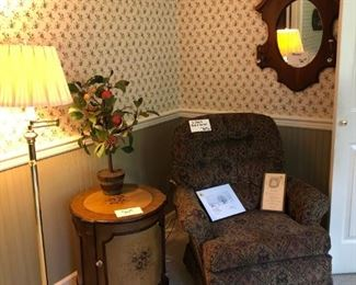 Pair of Club Chairs - Rock & Swivel (2 of 2)  $80 Pair , Round Table, Floor Lamp - $25 Mirror - (Sold)