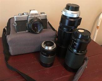 Minolta SRT 200 w/ Lenses - $125