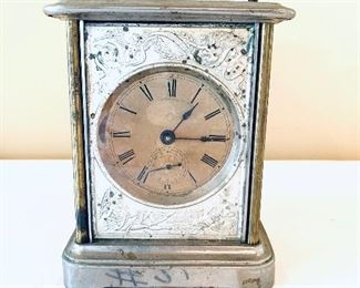 """VINTAGE CLOCK 6.5 """" T  does not wind  see trademark $ 75"""