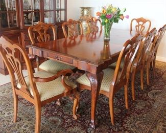 """#4. $1,000.00.   Century Dining set 8 chairs 2 leaves.  Table end has a small drawer.    table / 67.5"""" without leaves 44"""" wide 2 leaves 22"""" wide chairs.  40.5"""" height, 24"""" wide, 24"""" deep"""