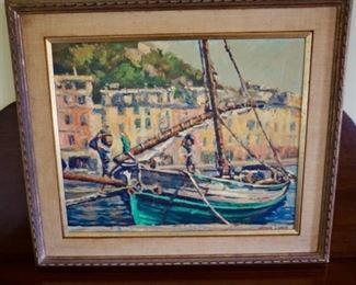 "$850 Arthur J Laws ""Felucca at Portofino Painting Measures: Frame 26 1/4 x 22, Unframed 21 x 17 1/2"