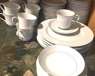Item #1:  Crown Victoria china (Lovelace).  13 cups, 18 saucers, 18 fruit bowls and 5 dinner plates.   $20