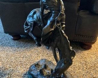 """In the likeness of Frederic Remington """"Outlaw.""""  approximately 23"""" H x 14"""" L  x 8"""" W. $1050."""