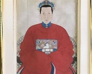"Chinese ancestor  portrait Gouache   38"" x 17.5"" 1 of pair Enquire about price & condition"