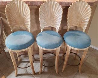 "10) Set of 3 Barstools- Shell Design- 44"" tall 29"" at the seat. $175 set"