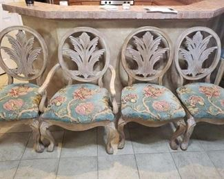 9) Set of 4 upholstered chairs. 1 Captain. $60 ea or $200 for the set
