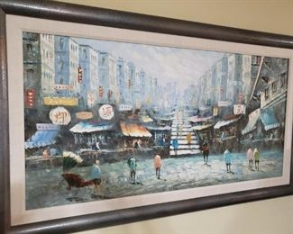 "1) MCM Hong Kong Cityscape Oil Painting 55""x 32"" Framed - $500"