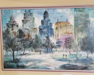 """3) MCM Cityscape Oil Painting -  40""""x28"""" -Signed-$400"""