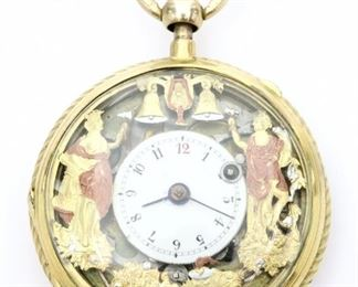 A Swiss 14k Gold pocket watch with quarter hour repeat and two Jacquemarts. 57mm open face with fancy engraved detail, KW through the dial, KS, porcelain dial w/Arabic numerals and plunge repeat at stem.    Some wear, winds, sets and functions correctly, running when cataloged. ESTIMATE $2,000-3,000