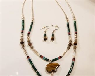 Gorgeous Navajo Necklace and Earring Set https://ctbids.com/#!/description/share/409448