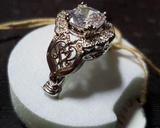 White Sapphire & Sterling Silver Ring https://ctbids.com/#!/description/share/409551