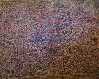 #138 sarouk style persian rug hand knotted in good shape 140 long by 112 wide. call for price